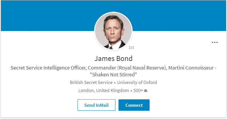 James Bond LinkedIn Profile
